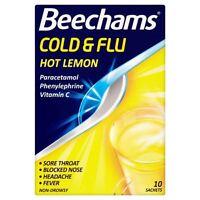 Beechams Cold & Flu Hot Lemon Sachets 10 - 2 Pack