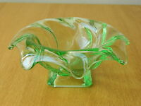 """Bagley Art Deco """" Equinox"""" green glass posy bowl"""