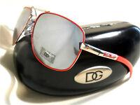 DG Eyewear MIRRORED Sunglasses & Black CASE RED & SILVER Aviator NEW DG22R NEW