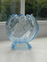 "Bagley Art Deco "" Equinox"" blue glass posy vase"
