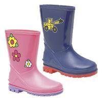 Kids Boys Girls 'PUDDLE' Pink Blue Digger Floral Wellington Boots Infant Junior