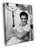 Elvis Presley Awesome BW Portrait Handsome Retro FRAMED CANVAS WALL PRINT