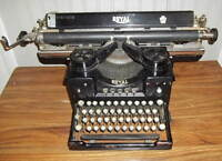 Vintage Royal Typewriter- Single Glass Sides w/long Carriage- Excellent Cond