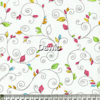 Ranken + bunte Blätter, weiß Patchwork, Quilt, Deko, Stoff, (20x110cm), €18,50/M