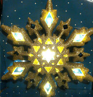 2 CHRISTMAS LED WHITE WARM LIGHT LIGHTED GOLD SNOWFLAKE TREE TOPPER DECORATION