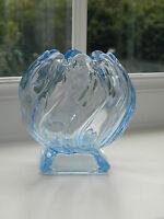 "Bagley Art Deco "" Equinox"" blue glass posy vase"