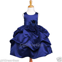 NAVY BLUE HOLIDAY PICK UP FLOWER GIRL DRESS 6M 12M 18M 2 4 5/6/6X 7/8 9/10 11/12