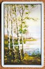 SCENERY - TREES BY MISTY LAKE - GOLD CORNERS - VINTAGE SINGLE SWAP PLAYING CARD