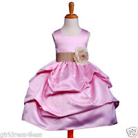 PINK/CHAMPAGNE WEDDING PARTY PICK UP FLOWER GIRL DRESS 6M 12M 18M 2 4 6 8 10 12