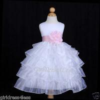 WHITE/BABY PINK TIERED ORGANZA WEDDING FLOWER GIRL DRESS 12M 18M 2 4 5/6/6T 8 10