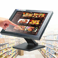 """15"""" LCD Touchscreen Monitor USB VGA with Multi-Position POS stand For Restaurant"""