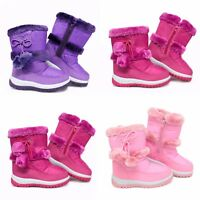 ca854d033 New Girls Kids Thermal Fur Lined Snow Wellington Boots Wellies Pink  waterproof
