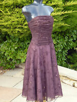 Monsoon Sexy Brown Sequin Beaded Dress Size 08 Wedding PROM Party Races XMAS