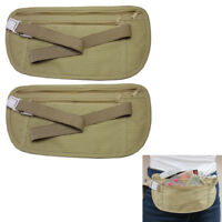 2 Travel Pouch Hidden Passport ID Holder Compact Security Money Waist Belt Bag !