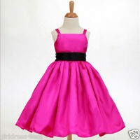 FUCHSIA HOT PINK SPAGHETTI STRAPS FLOWER GIRL DRESS 12-18M 2/2T 3/4 5/6 8 10 12