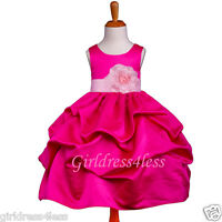 FUCHSIA/PINK PAGEANT WEDDING PICK UP FLOWER GIRL DRESS 6M 12M 18M 2 4 6 8 10 12