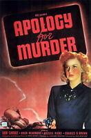 73835 Apology for Murder Movie 1945 Drama Noir FRAMED CANVAS PRINT Toile