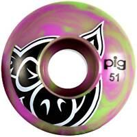 Pig Swirls Skateboard Wheels - Purple/Green 51mm (Pack of 4)