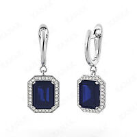 3 ct Emerald Cut Sapphire and Natural Diamond 14k White Gold Drop Hoop Earrings