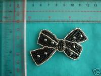 SEQUIN APPLIQUE, GLASS BEAD RHINESTONE PATCH, BOW