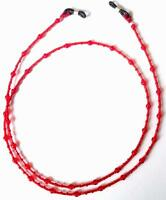 Toho Glass Seed Beads Transparent Ruby Red Eyeglass Holder, Chains