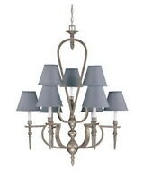 CLASSIC PEWTER 9 LIGHT CHANDELIER WITH SHADES
