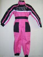 KIDS PINK 11-12 WULFSPORT OVERALLS RACE SUIT MOTOCROSS QUAD GO-KARTING GIRL