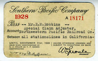 1928 Southern Pacific Railroad Co Pass NWP Agent (4)