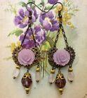 Victorian Cameo orecchini in filigrana vintage con rosa lilla e cristalli viola