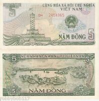 VIETNAM 5 Dong Banknote World Paper Money aUNC Currency BILL pick 92 1985 Note