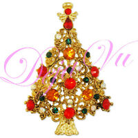 CRYSTAL CHRISTMAS TREE BROOCH PIN GOLD PLATED MADE WITH SWAROVSKI ELEMENTS