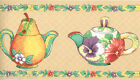 Country Kitchen Teapots Fruit Pear Corn Vegetable Pansy Floral Wall paper Border