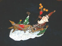 CHRISTMAS DECORATION SANTA ON SLEIGH REINDEER trees STARS gold SUPER COND LOOK!!