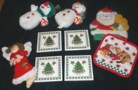 large lot CHRISTMAS TY BEANIE TOYS HOT PAD TRIVETS ANGEL ORNAMENT SANTA CLAUS @@