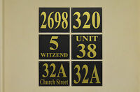 Black house plaque / sign number & house / street name 3MM foamex, gold DRILLED