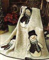 Crochet Pattern Afghan Throw Fun Snowmen Christmas