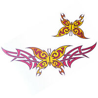Lethal Threat Girl's Club Temporary Tattoo, Yellow & Pink Butterfly, Lower Back
