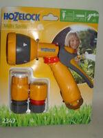 New Hozelock Water Multi Spray Jet Sprayer Gun For Garden Hose Pipes + fitt 2347