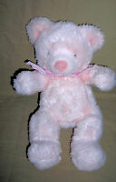 RUSS BERRIE  plush PINK BEAR, PUFFS  with RATTLE       SIZE: 12 INCH