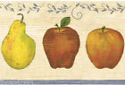 Country Kitchen Fruit Apple Pear on Wood grain Blue Vine Trim Wall paper Border