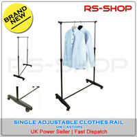 Single Adjustable Clothes Hanging Rail with Castors