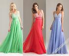 Halter Jeweled Chiffon Evening/Prom dress/Paty/Formal/Ball gown/SZ 6 8 10 12 14