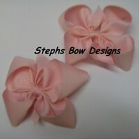 LOT 2 SOFT PINK BOUTIQUE PIGTAIL HAIR BOW SET PIGGY TAIL HAIRBOW EASTER SPRING