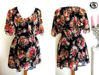 LADIES RUFFLE SLEEVES FLOWER PRINT SHIFT DRESS RETRO PARTY SKATER SUMMER VINTAGE