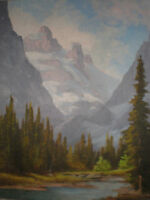 "CANADIAN OIL PAINTING BY WILLIAM HARISCH."" LAKE LOUISE"""