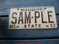 1953 53 MISSISSIPPI MS SAMPLE LICENSE PLATE NICE TAG