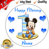 """1st FIRST BIRTHDAY BOYS BABY MICKEY Edible Icing Cake Topper 7.5"""" Round Pre-cut"""