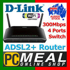 D-Link DSL-2750B Wireless N300 ADSL2+ Modem Router Combos Switch 300Mbps USB 2.0