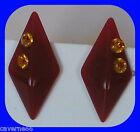 ANCIENS BIJOUX BOUCLES D'OREILLES losange lucite marron strass earrings B174