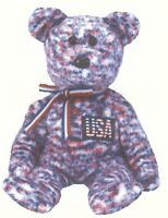 USA the PATRIOTIC RED WHITE & BLUE BEAR  TY BEANIE BABY
